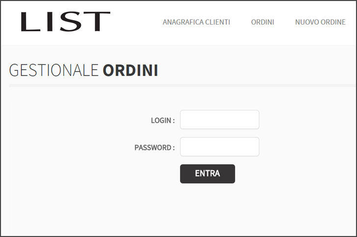 Gestionale ordini per LIST Fashion Group